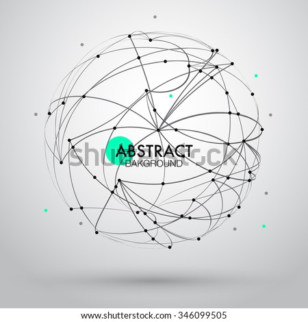 Vector abstract background with point and curve constructed the sphere wireframe. EPS10 - stock vector