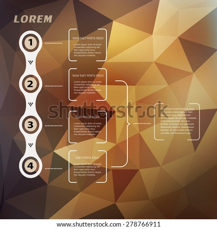 Vector abstract background with triangles and infographics elements - stock vector