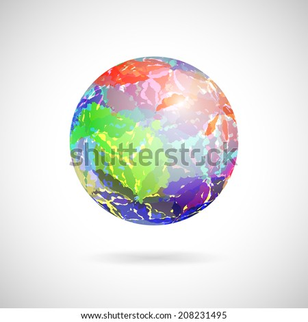 Vector abstract ball of colored spots painted with watercolor - stock vector