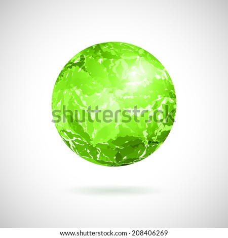 Vector abstract ball of green spots painted with watercolor - stock vector