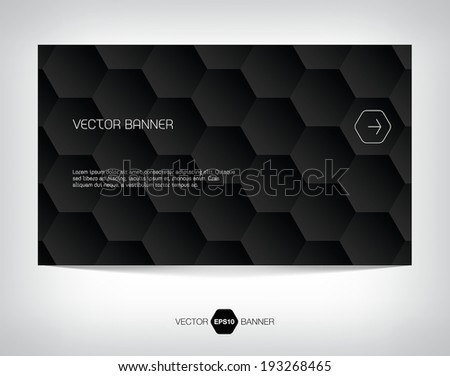 Vector abstract banner with black geometric hexagonal background
