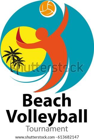 vector abstract beach volleyball tournament logo stock vector hd rh shutterstock com