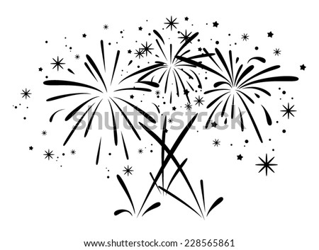 vector abstract black and white anniversary bursting fireworks with stars and sparks - stock vector