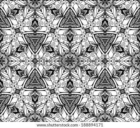 Vector abstract black and white background. Seamless pattern. Black and white texture. Floral design. Lines. Backdrop. Royal design element. Retro Vintage wedding card background. Card or invitation.