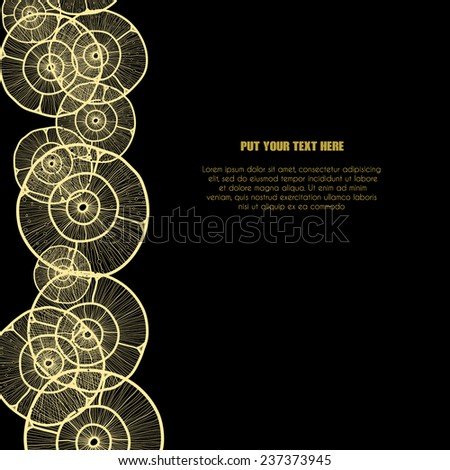Vector abstract black background with circular gold lace elements on the left side, with sample text and space for your text. For cards, invitations,announcement, covers. - stock vector