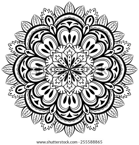 vector, abstract, black mandala with floral elements on a white background - stock vector