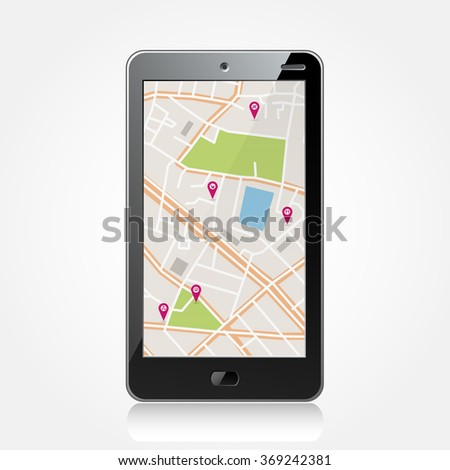 Vector abstract black smartphone with navigator map