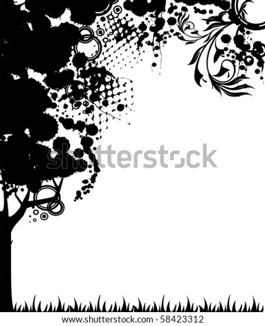 Vector abstract black tree. Nature decoration. - stock vector