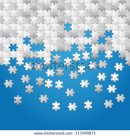 Vector Abstract blue background made from white puzzle pieces - stock vector