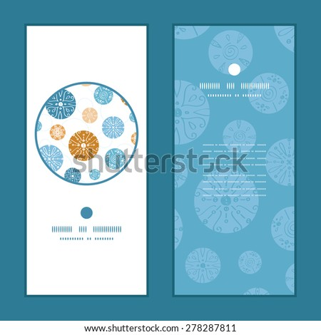 Vector abstract blue brown vintage circles back vertical round frame pattern invitation greeting cards set