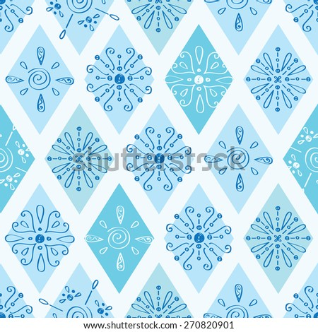 Vector abstract blue doodle rhombus seamless pattern background - stock vector
