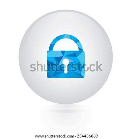 Vector - abstract blue lock icon. circular button  - stock vector