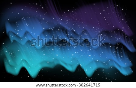 Vector abstract blue, space background with imitation aurora and stars - stock vector