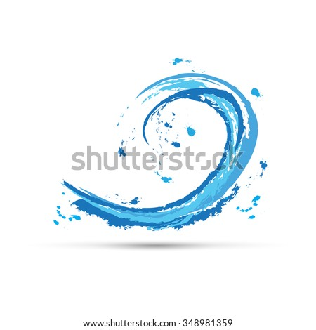 Vector abstract blue wave of the sea , handmade with brushstrokes