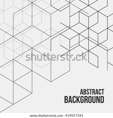 Vector abstract boxes background. Modern technology illustration with square mesh. Digital geometric abstraction with lines and points. Cube cell. - stock vector