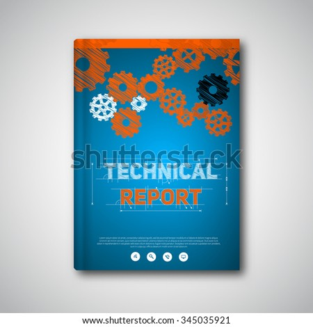 Vector abstract brochure, book, flyer design template with cogwheels in hand drawed style, on blueprint background - stock vector