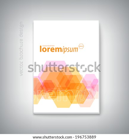 Vector abstract brochure cover design with geometric hexagonal background - stock vector