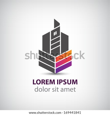 vector abstract building construction logo for company isolated - stock vector