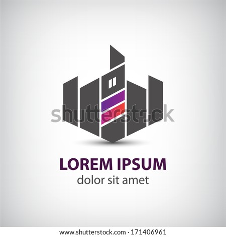 vector abstract building, tower, city icon, logo isolated - stock vector