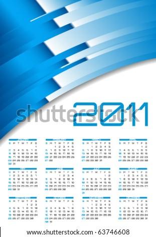Vector abstract calendar, design template for 2011 - stock vector