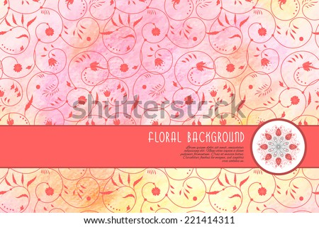 Vector abstract card. Floral pattern with curls. Colored pencils. Hand drawing. Place for your text. - stock vector