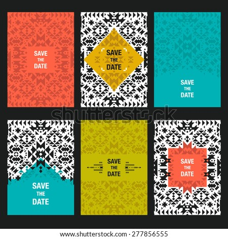 Vector abstract card templates for design save the date cards, invitations, cover with tribal, ethnic, geometric elements - stock vector