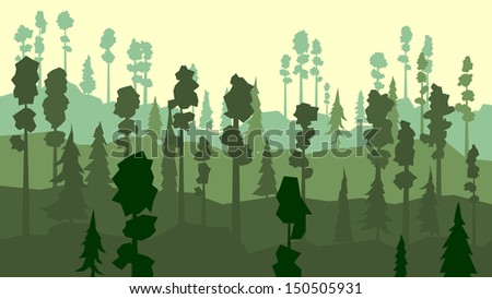 Vector abstract cartoon of coniferous forest with pines in green tone.