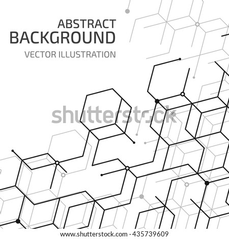 Vector abstract cell background. Modern technology illustration with mesh. Digital geometric abstraction with lines and points.