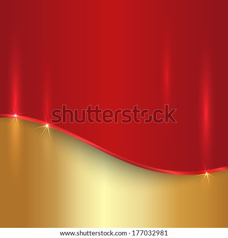 Vector abstract cherry red and gold metallic background - stock vector