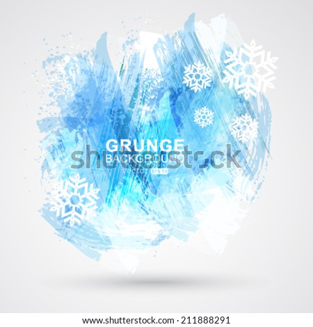Vector abstract Christmas figured brush strokes brush and ink. - stock vector