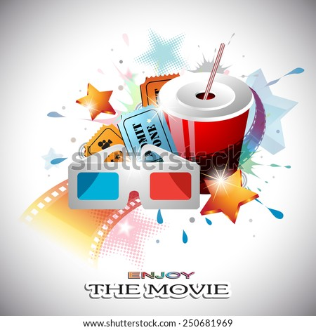 Vector Abstract Cinema Design with Paper Cup, Film Strip, 3D Glasses, Cinema Tickets, Dotted and Shining Stars in front of Colorful Splats. - stock vector