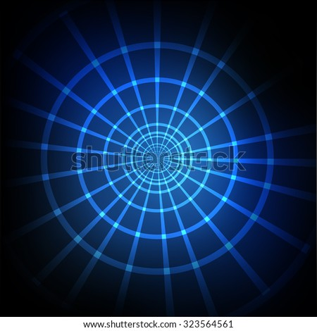 Vector : Abstract circle and perspective line on blue background - stock vector