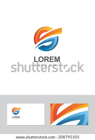 Vector abstract circle logo and business card design template. Moving and dynamic symbol. Concept for business, finance, modern high technology, development. - stock vector