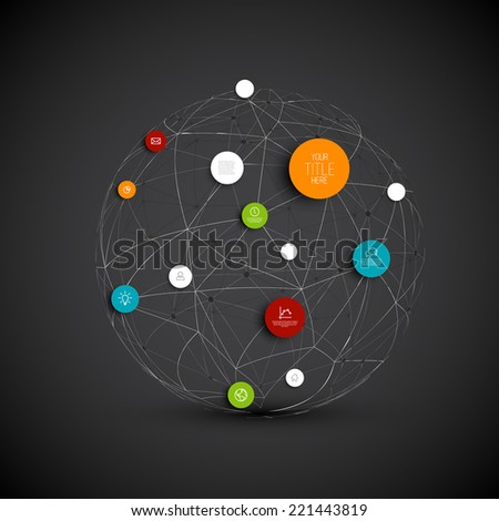 Vector abstract circles illustration / infographic network template with place for your content - dark version - stock vector