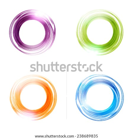Vector abstract  circles set.  Blue, green, orange and violet colors. Banner, flyer or Logo design template . - stock vector