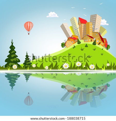 Vector abstract city reflected on the water - stock vector