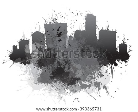 Vector abstract cityscape,  splashing  backgrounds. - stock vector