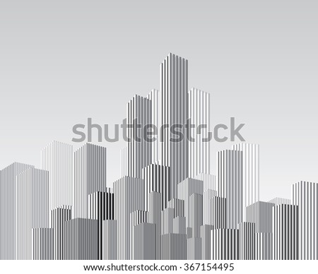 vector abstract cityscape with vertical strips - stock vector