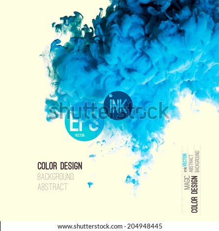 Vector abstract cloud. Blue Ink swirling in water, cloud of ink in water isolated on white. Abstract banner paints. Holi. Liquid cloud. Background for banner, card, poster,  label or web design - stock vector