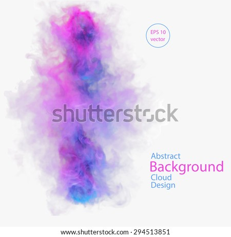 Vector abstract cloud. Vector illustration of blue and pink smoke on white background. Abstract banner paints. Background for banner, card, poster, poster, identity, web design - stock vector