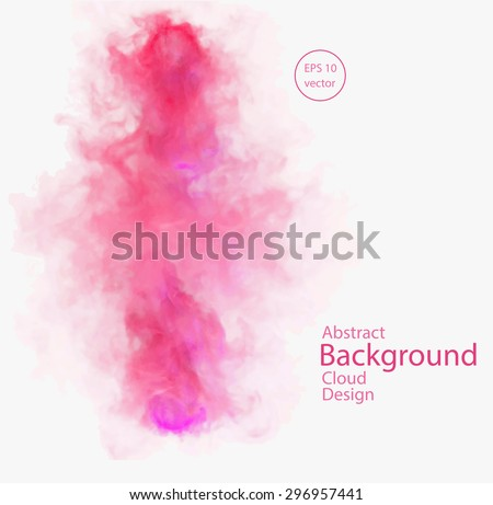 Vector abstract cloud. Vector illustration of red and pink smoke on white background. Abstract banner paints. Background for banner, card, poster, identity, web design - stock vector