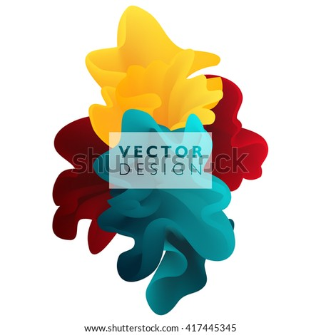 Vector abstract color cloud.  Liquid ink splash. Background for banner, card, poster, web design. - stock vector