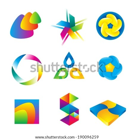 Vector abstract color logo design elements