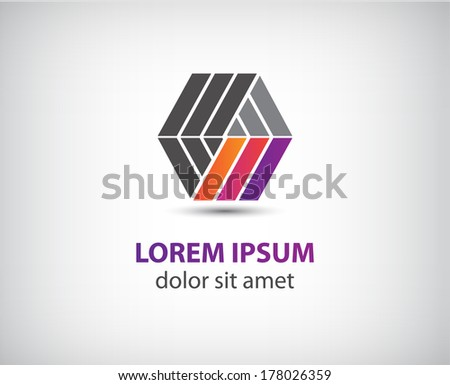 vector abstract color ribbon logo for company isolated - stock vector