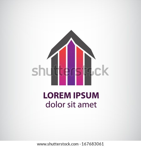 vector abstract colorful building logo, house with roof isolated - stock vector