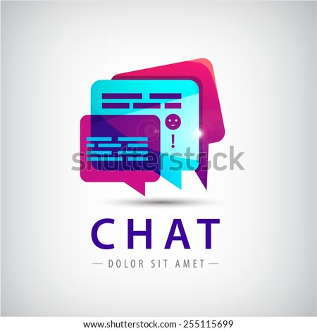 Vector abstract colorful chat logo, cloud icon, talk, messages, social net - stock vector