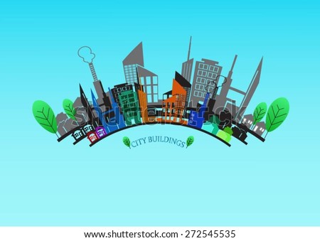 vector abstract colorful city, building composition sign, icon, logo