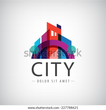 vector abstract colorful city, building composition sign, icon, logo isolated - stock vector
