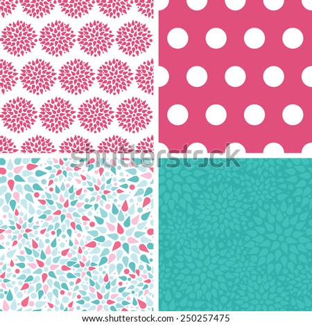 Vector abstract colorful drops set of four marching repeat patterns backgrounds - stock vector