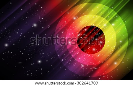 Vector abstract, colorful space background with imitation aurora and stars - stock vector